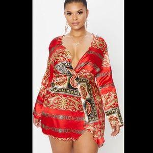 Plus Red Printed Satin Long Sleeve Wrap Dress